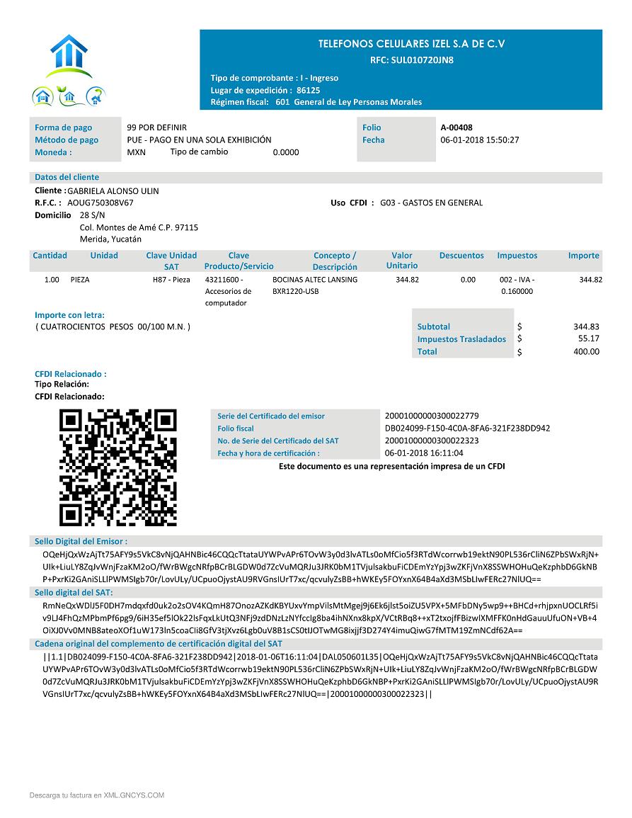 formato de factura electrónica anexo 20 versión 3 3 gncys punto