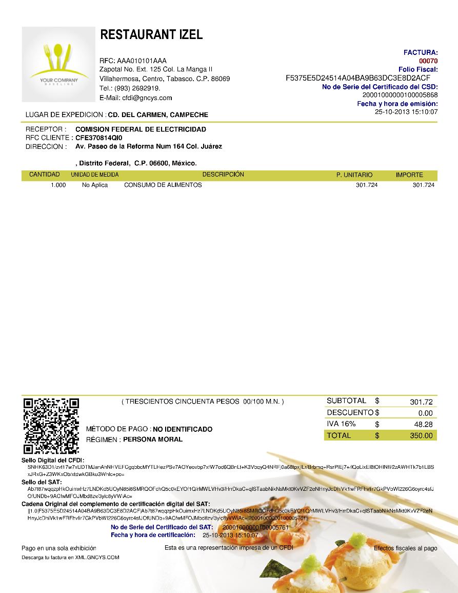 Ejemplo CFDI (Restaurantes)- GNcys Factura Electrónica 2018