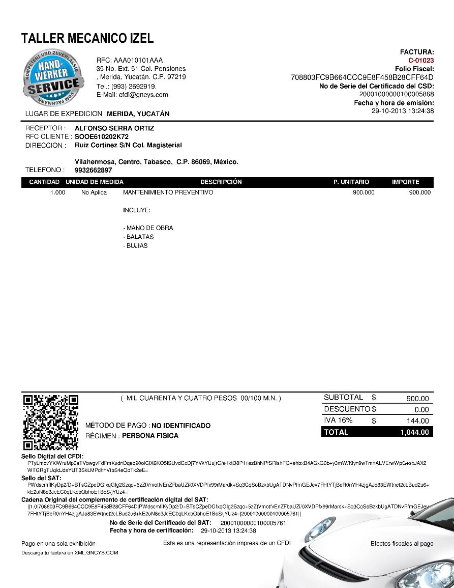 Ejemplo cfdi taller mec nico gncys factura electr nica Manual de compras de un restaurante pdf