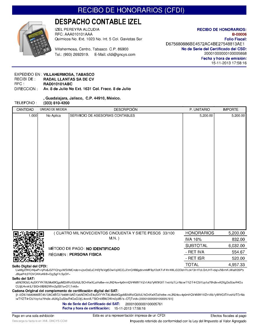 formato de recibo de honorarios gncys factura electrónica 2019